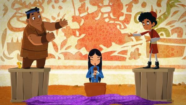 Marco und seine Freunde sind pleite! Eine Weiterreise, um Shi Las verschollene Mutter zu finden? Undenkbar. Doch die Drei versuchen sich als Straßenkünstler! | Rechte: MDR/ARD/MotionWorks 2018
