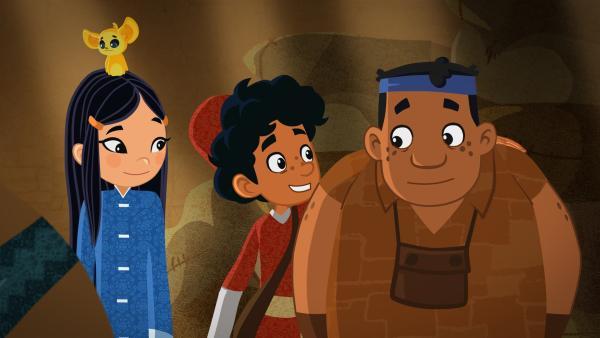 Marco und seine Freunde müssen dringend helfen, Kleider für den eitlen König zu weben. Alles dauert viel zu lange. Bis sich Bastel-Genie Luigi (re.) eine Idee hat... | Rechte: MDR/ARD/MotionWorks 2018