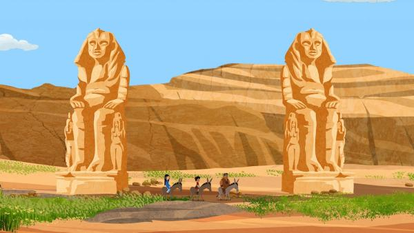Marco, Shi La und Luigi sind im Land der alten Pharaonen unterwegs. Im Tal der Könige wollen sie ihr Nachtlager aufschlagen. | Rechte: MDR/ARD/MotionWorks 2018