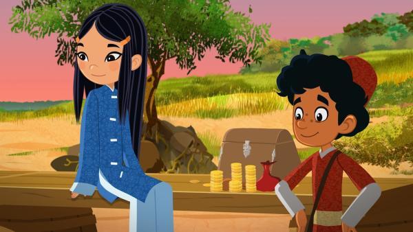 ShiLa und Marcp mit vielen Goldmünzen. | Rechte: MDR/MotionWorks