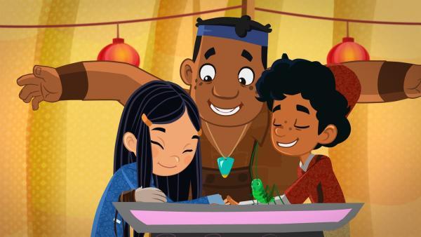 ShiLa, Luigi und Marco mit der Grille | Rechte: MDR/MotionWorks