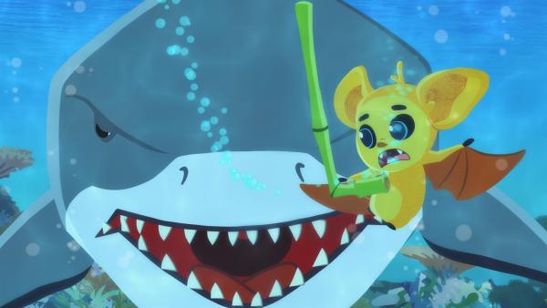 FuFu entdeckt einen Hai. | Rechte: MDR/MotionWorks