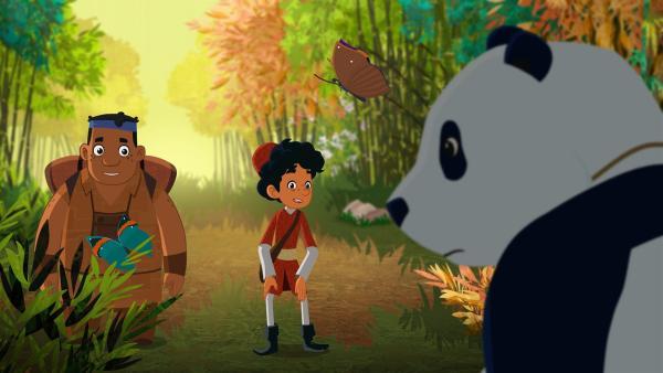 Marco und Luigi entdecken einen Panda. | Rechte: MDR/MotionWorks