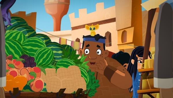 Luigi entdeckt Melonen auf dem Markt. | Rechte: MDR/MotionWorks