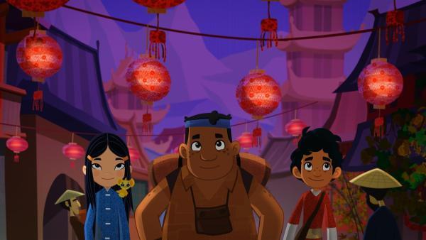 Die Freunde bestaunen in China beleuchtete Lampions. | Rechte: MDR/MotionWorks