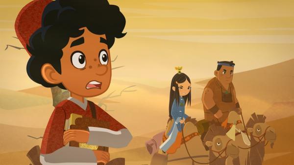 Marco, ShiLa und Luigi haben Angst vor einem Sandsturm. | Rechte: MDR/MotionWorks
