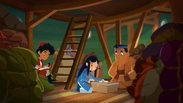 Marco, ShiLa und Luigi auf einem Pirtaneboot | Rechte: MDR/MotionWorks