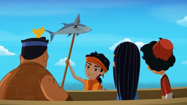 Orang Laut fängt einen Fisch. | Rechte: MDR/MotionWorks