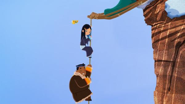Luigi und ShiLa hängen an einer Klippe fest. | Rechte: MDR/MotionWorks