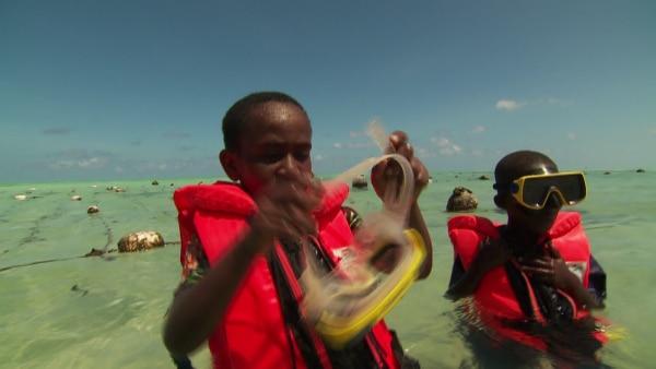 Awena und Abduli: Tauchen nach Badeschwämmen | Rechte: SWR