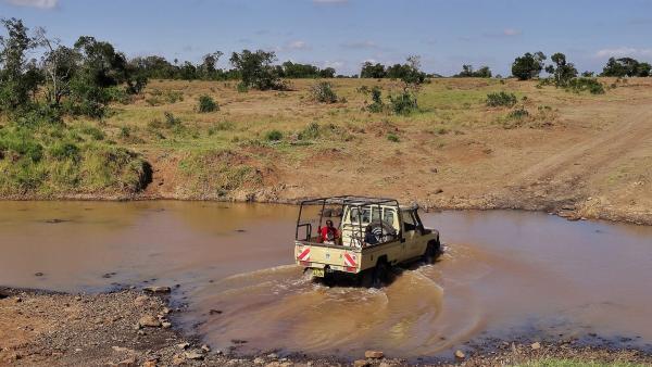 Auf der Suche nach Löwen müssen Emily und John durch einen tiefen Fluss fahren. | Rechte: SWR/FF-movie.tv Film- und Fernsehproduktion