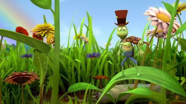Die kleine Biene Maja trifft Flip den Grashüpfer zum ersten Mal. | Rechte: ZDF/Studio100 Animation