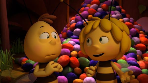 Maja muss mit ihrem Freund Willi beim Aufräumen helfen.   Rechte: ZDF/Studio100 Animation