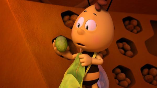 Willi wundert sich über die giftgrüne Farbe des Pollen.   Rechte: ZDF/Studio100 Animation