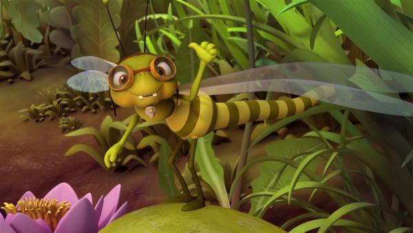 Die alte Libelle Otto hat Spaß Maja zu trainieren. | Rechte: ZDF/Studio100 Animation