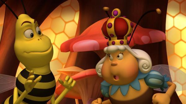 Der Königin ist die Wespe zu aufdringlich. | Rechte: ZDF/Studio100 Animation