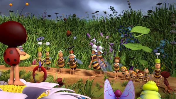 Die Prozession der Bienenkönigin. | Rechte: ZDF/2017/Studio 100 Animation