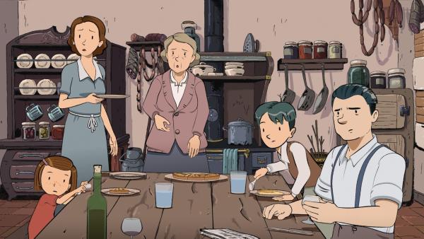 Im Radio wird der Einstieg Frankreichs in den Zweiten Weltkrieg verkündet. Für die Familie von Ernest (2.v.re) und Colette (li) ist das ein Schock. | Rechte: ZDF/2015 Les Armateurs/Blue Spirit Studio