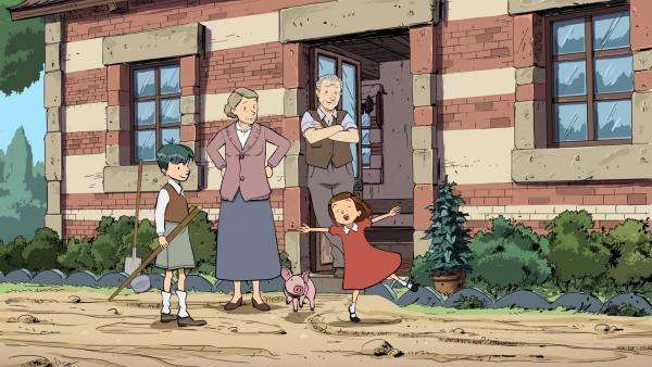 Die Großeltern geben sich alle Mühe, bei Kriegsausbruch das Leben für ihre Enkel Ernest (li.) und Colette (re.) so angenehm wie möglich zu machen. | Rechte: ZDF/2015 Les Armateurs/Blue Spirit Studio
