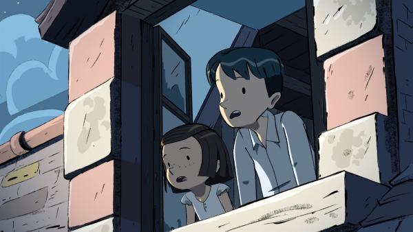 Colette und Ernest beobachten, wie vor ihrem Fenster ein Flugzeug abgeschossen wird. | Rechte: ZDF/2015 Les Armateurs/Blue Spirit Studio