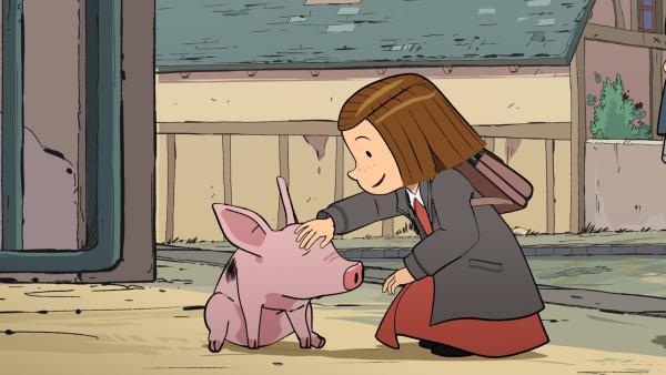 Colette verabschiedet sich vor der Schule von ihrem Schweinchen Schlammi. | Rechte: ZDF/2015 Les Armateurs/Blue Spirit Studio