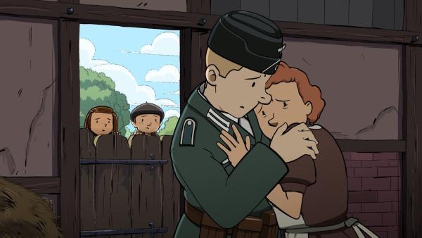Der deutsche Soldat Otto hat sich in Jeanne, die Mutter von Gaston, verliebt. | Rechte: ZDF/2015 Les Armateurs/Blue Spirit Studio
