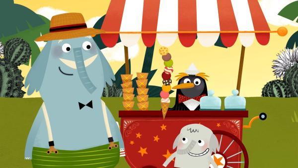 Im Sommer treffen sich alle Waldbewohner im Schwimmbad zum Eis essen.   Rechte: rbb/ahoifilm