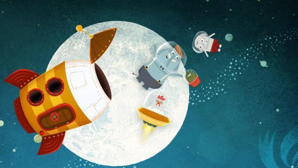 Opa Günter und sein Enkel erleben Abenteuer im All mit Asteroiden, Kometen und natürlich dem kleinen grünen Kaktus.   Rechte: rbb/ahoifilm