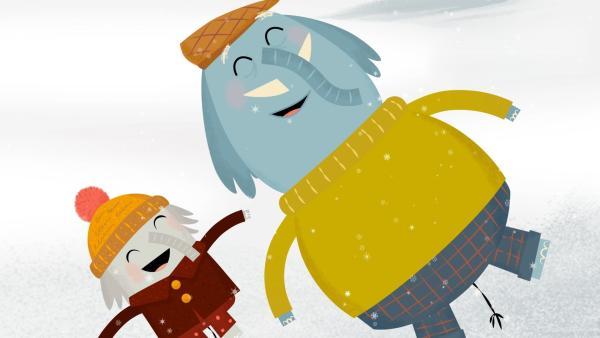 Die beiden Musifanten Opa Günter und Enkelkind Charlie wollen im tief verschneiten Wald auf die Suche nach dem perfekten Tannenbaum gehen. | Rechte: rbb/ahoifilm