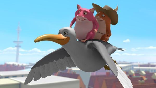 Eine rosafarbene Hamsterdame (mittig oben) fliegt zusammen mit Hamster Bertram (rechts oben) auf dem Rücken einer Möwe. Im Hintergrund ist blauer Himmel. | Rechte: 2021 Caligari Film