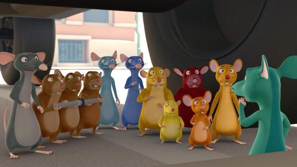 Die Nager haben sich versammelt, um die Muskeltiere zu retten. | Rechte: 2021 Caligari Film