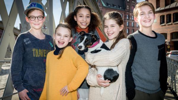 Gruppenbilder der Pfefferkörner: von links nach rechts: Benny, Alice, Lisha, Mia und Johannes | Rechte: NDR/Boris Laewen