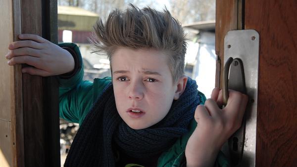 Niklas (Jaden Dreier) schaut sich neugierig auf der Bootslagerei seines neuen Freundes Anton um. | Rechte: NDR/Romano Ruhnau