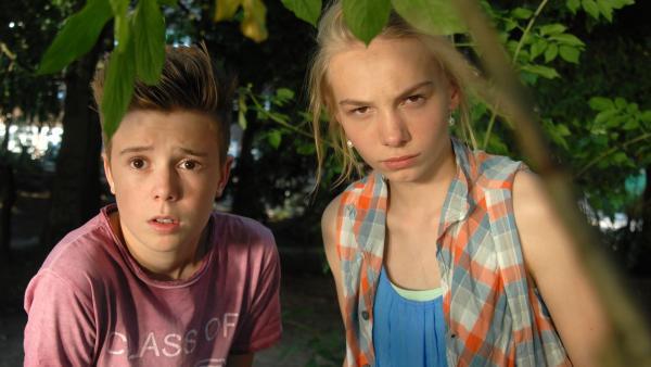 Niklas (Jaden Dreier) und Jessi (Martha Fries) auf der Lauer. | Rechte: NDR/Romano Ruhnau