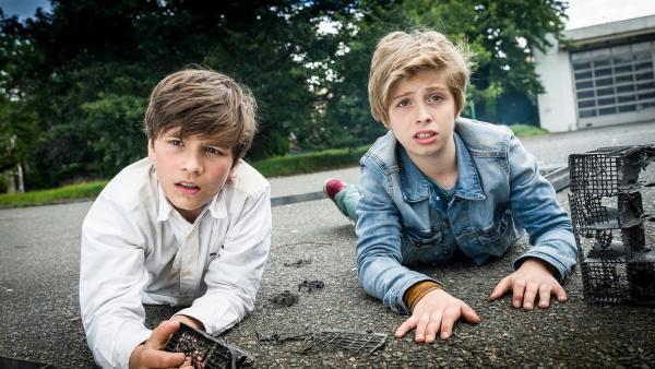 Ramin (Jann Piet, links) und Till (Otto von Grevenmoor) sind fassungslos; wer bitte jagt hier Spülmaschinen in die Luft? | Rechte: NDR/Boris Laewen