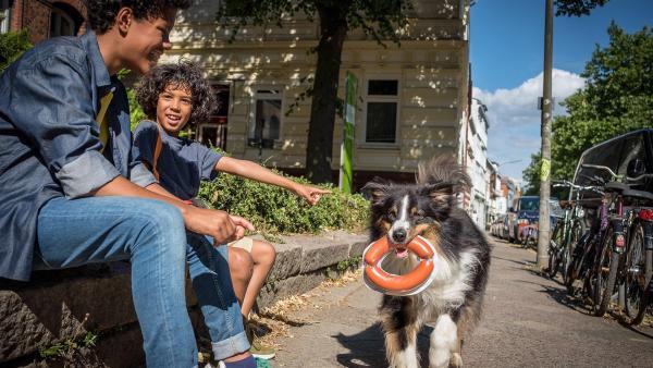 Tayo und Femi finden Hund Pepper zum Anbeißen.  | Rechte: NDR/Boris Laewen