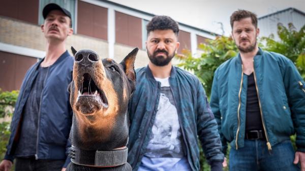 Die Kampfhundebesitzer mit ihrem Schützling Bobo. | Rechte: NDR/Boris Laewen
