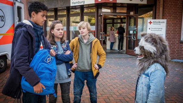 Tayo (Samuel Adams, li.) ist bereit, seinen Rucksack gegen die Waschbären Maske zu tauschen. | Rechte: NDR/Boris Laewen