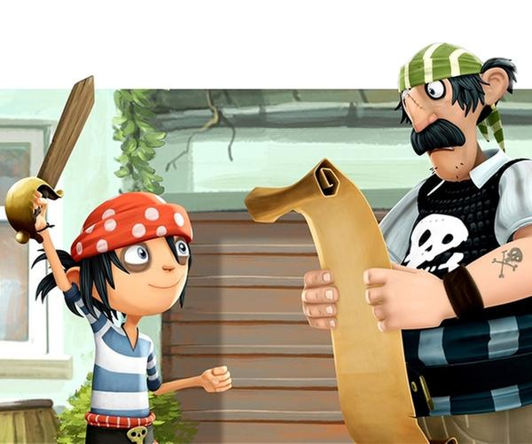 Matilda und der Piratenjunge Jim von nebenan sind beste Freunde.   Rechte: WDR/Cyber Group Studios/France Télévisions/Blue Spirit Studios/Sofitvcine 4