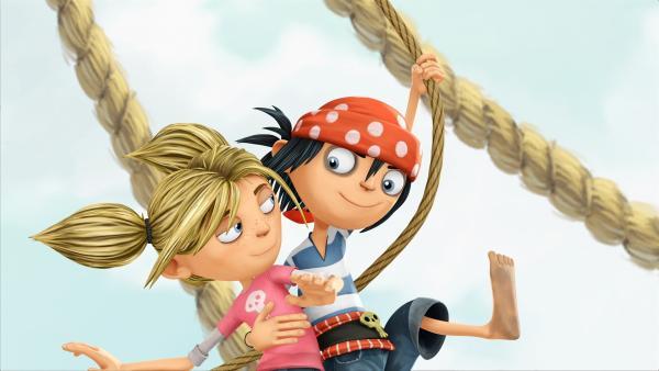 Matilda und der Piratenjunge Jim von nebenan sind beste Freunde. | Rechte: WDR/Cyber Group Studios / France Télévisions / Blue Spirit Studios / Sofitvcine 4
