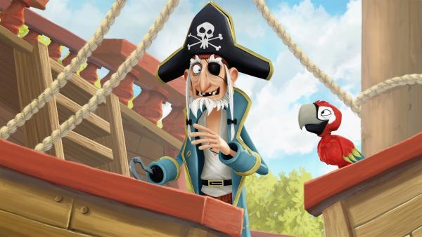 Piratenopa Rogers und sein bester Freund Matrose Papagei Krächz. | Rechte: WDR/Cyber Group Studios / France Télévisions / Blue Spirit Studios / Sofitvcine 4