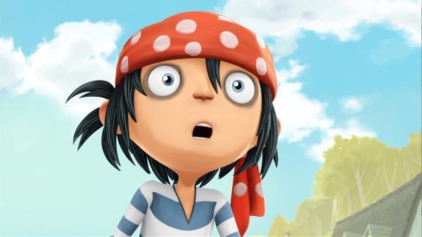 Jim ist total geschockt: seine Vorfahren sollen gar keine Piraten sein! | Rechte: WDR/Cyber Group Studios / France Télévisions / Blue Spirit Studios / Sofitvcine 4