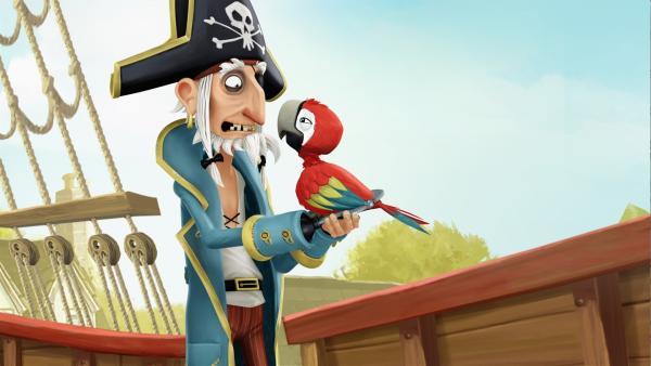 Piraten-Opa und Piraten-Papagei Krächz haben einen riesen Streit.   Rechte: WDR/Cyber Group Studios / France Télévisions / Blue Spirit Studios / Sofitvcine 4