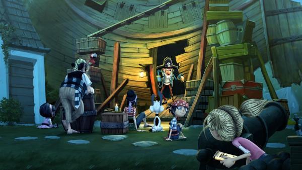 Besser als Fernsehen oder Bücherlesen: Jims Opa erzählt Piratengeschichten. | Rechte: WDR/Cyber Group Studios