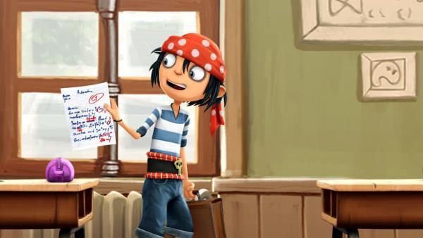 Piratenjunge Jim sind seine Schulnoten ziehmlich egal. | Rechte: WDR/Cyber Group Studios