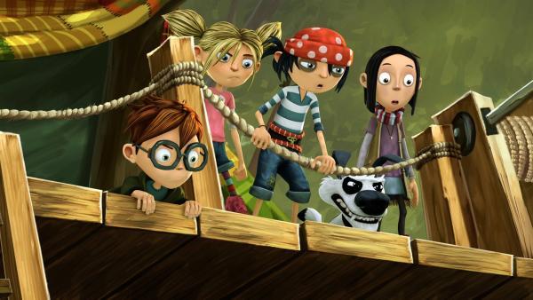 Matilda und Jim mit ihren Freunden am Baumhaus. | Rechte: WDR/Cyber Group Studios
