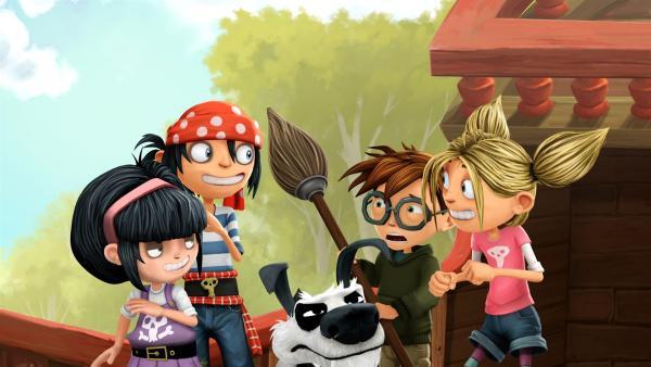 Matilda, Jim und ihre Freunde haben einen Plan. | Rechte: WDR/Cyber Group Studios