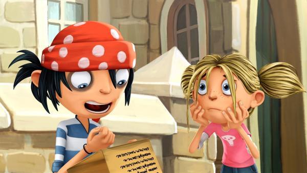 Matilda hält nicht viel von Jims langer Liste mit Mutprobem gegen den Fluch. | Rechte: WDR/Cyber Group Studios