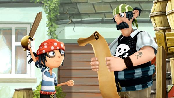 JIm verbringt gern Zeit mit seinem Piratenpapa. | Rechte: WDR/Cyber Group Studios