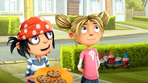 Matilda und Jim von nebenan unterwegs mit leckeren Sardinenkeksen. | Rechte: WDR/Cyber Group Studios